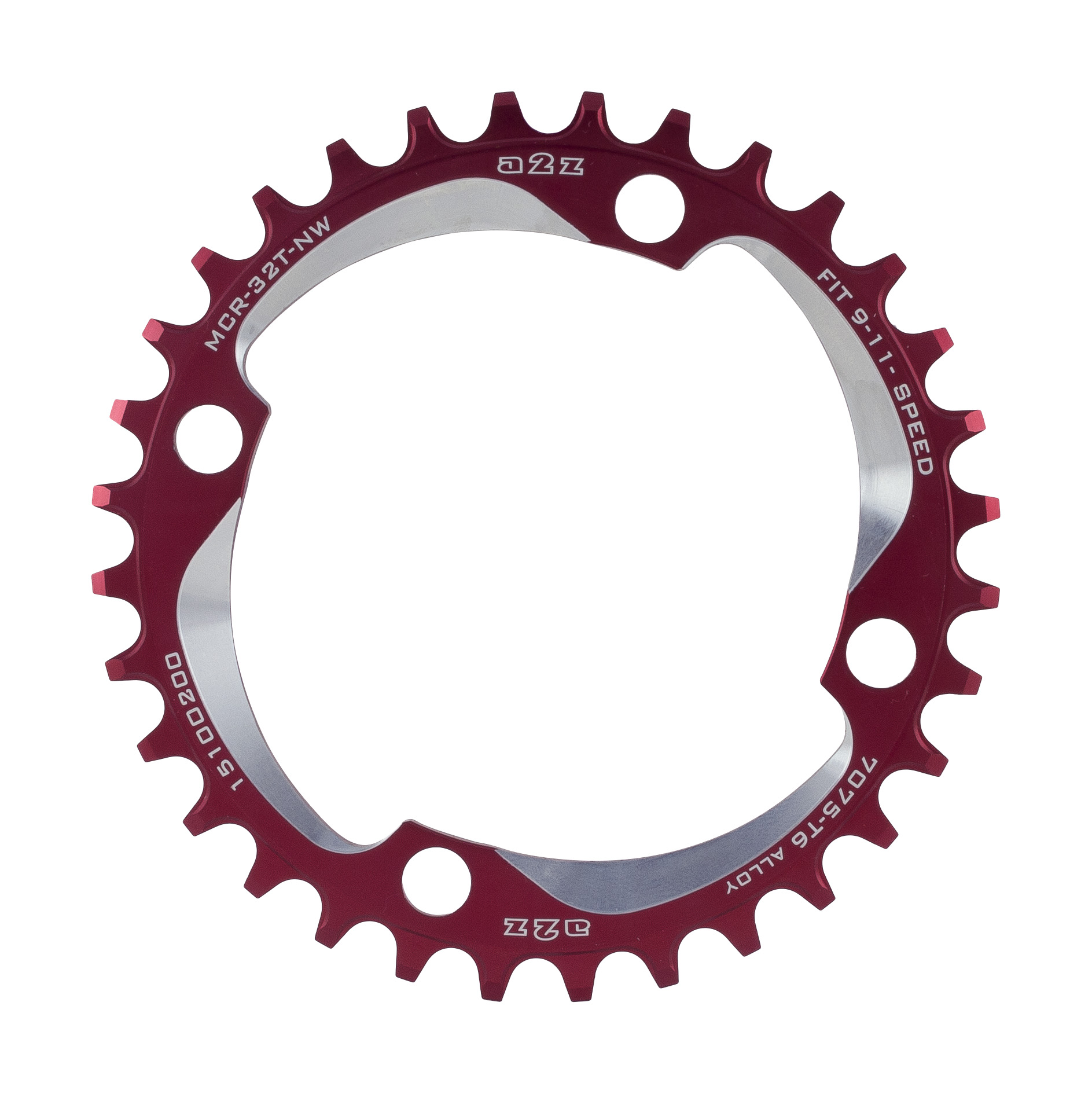 A2z-Narrow-Wide-Chainring-104Bcd-34T-Red